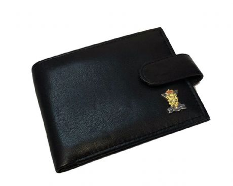 Genuine Leather wallet featuring an enamel badge of the Royal Regiment of Scotland. Great gift idea.